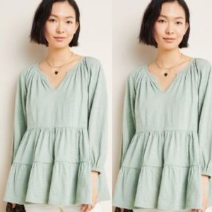MAEVE Isola Tiered Babydoll Top L sage Green